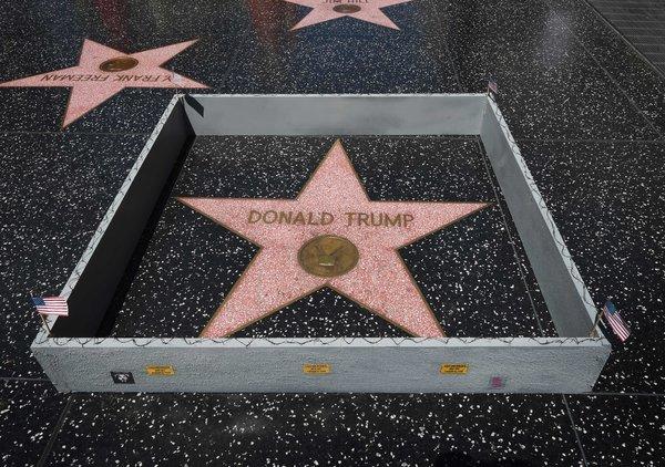 Image result for shattered Donald Trump walk of fame plastic jesus
