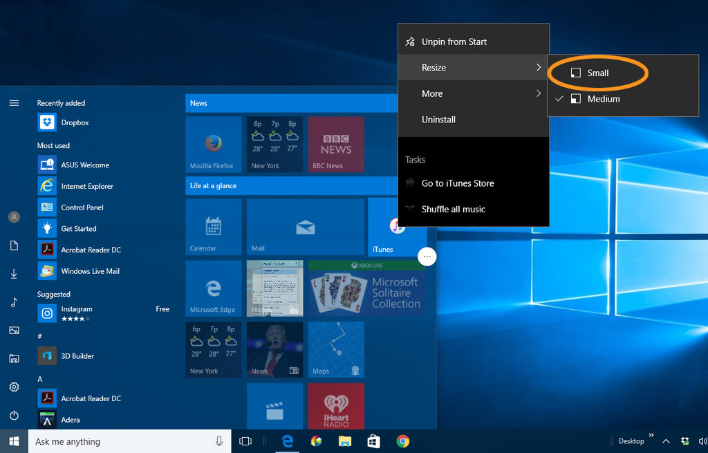 how to turn off a windows live tile