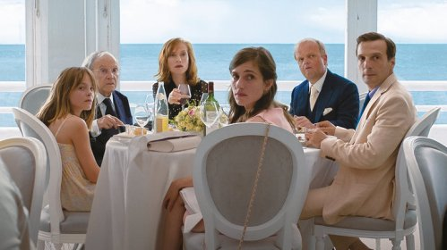 "From left, Fantine Harduin, Jean-Louis Trintignant, Isabelle Huppert, Laura Verlinden, Toby Jones and Mathieu Kassovitz in ""Happy End,"" directed by Michael Haneke. Credit Sony Pictures Classics"