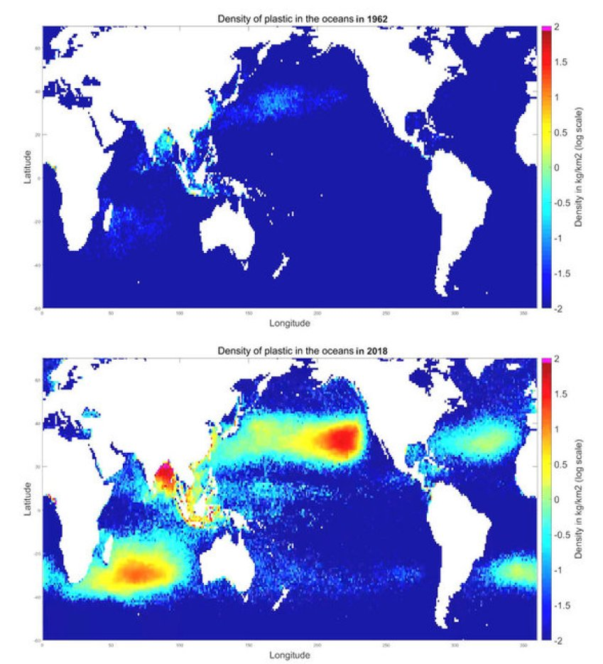 The density of ocean plastic in 1962 (top) compared to 2018 (bottom).