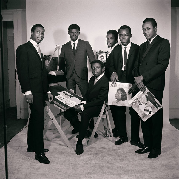 Untitled (Original African Jazz Arts Society and Studios members, left to right: Robert Gumbs, Frank Adu, Elombe Brath, Kwame Brathwaite, Ernest Baxter and Chris Hall), 1965.