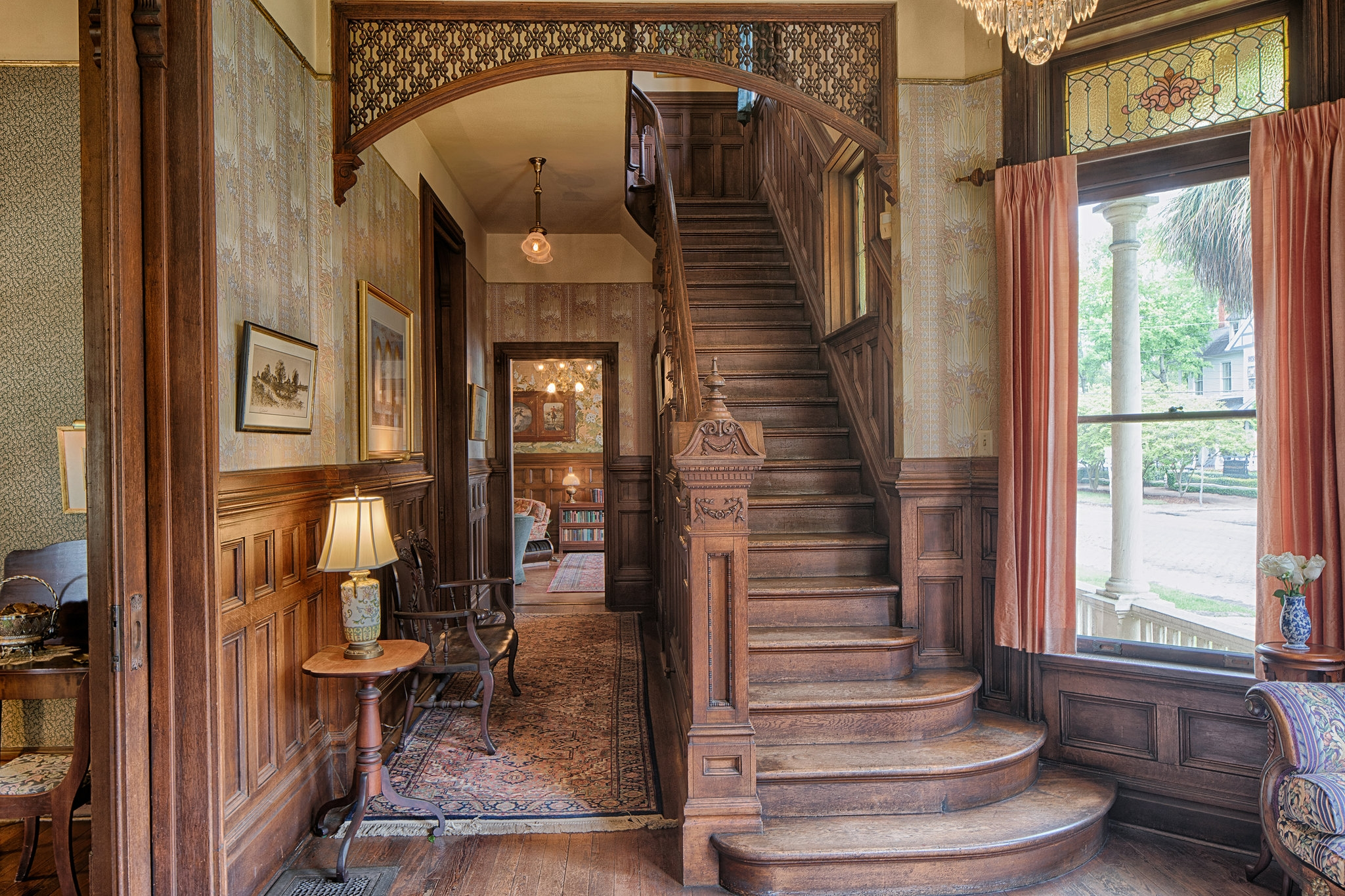 A Moorish Fretted Arch Spans The Front Staircase In This Savannah   Front Staircase House Design   Residential   Outside   Front Jina   Home Front Valuation   Sitout