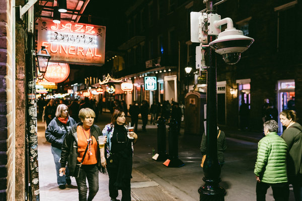 Artificial Intelligence: A surveillance camera operated by the New Orleans Police Department fixed to a lamppost on Bourbon Street.