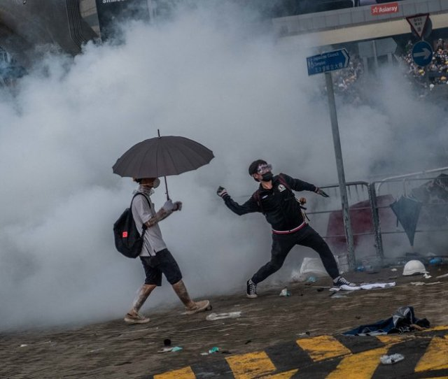 Bricks Bottles And Tear Gas Protesters And Police Battle In Hong Kongbricks Bottles And Tear Gas Protesters And Police Battle In Hong Kong