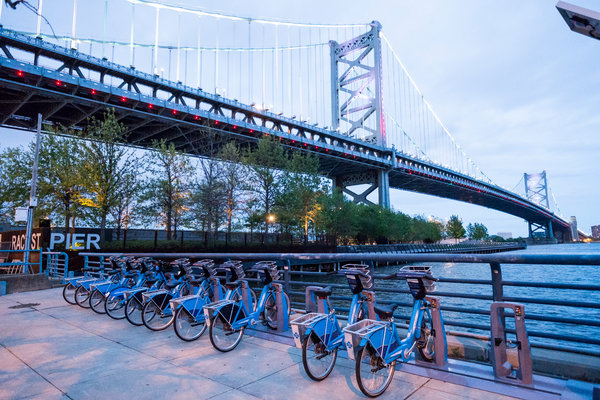 The bike-share station at Race Street Pier. Many attractions in Philadelphiacan be handily visited on foot, by bike or mass transit.