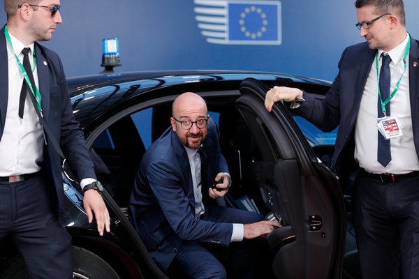 Acting Prime Minister Charles Michel of Belgium arriving for a European Union meeting in Brussels on Tuesday.