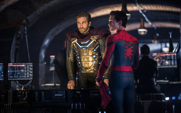 Mysterio (Jake Gyllenhaal) and Spider-Man (Tom Holland) in the new sequel.