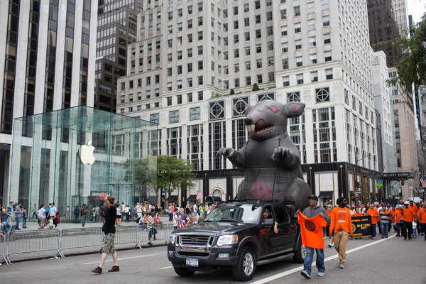 The National Labor Relations Board ruled that the use of oversized, inflatable rats is a permissible effort to persuade bystanders. One of the rats was featured in a Labor Day parade in New York.