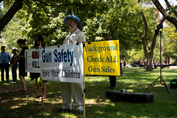 Protesters attending a rally about gun violence across the street from the White House on Tuesday.