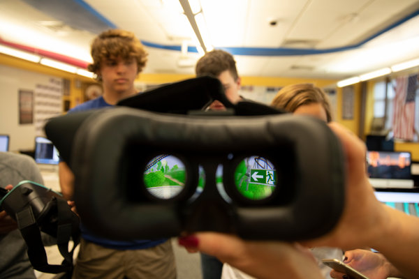 A virtual reality headset at Sheridan High School. Wyoming's public schools must soon teach computer science at every grade level.