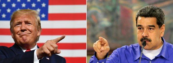 A la izquierda, el presidente de Estados Unidos, Donald Trump; a la derecha, el mandatario venezolano, Nicolás Maduro