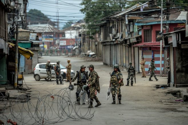 Security forces on the streets of Srinagar, Kashmir. The Indian government cut off internet access in the region in August.