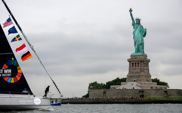 Ms. Thunberg arriving in New York City last month.