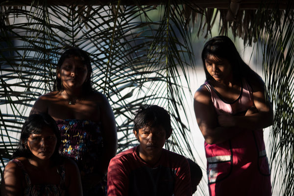Members of the Kayapo indigenous community at a meeting in August.