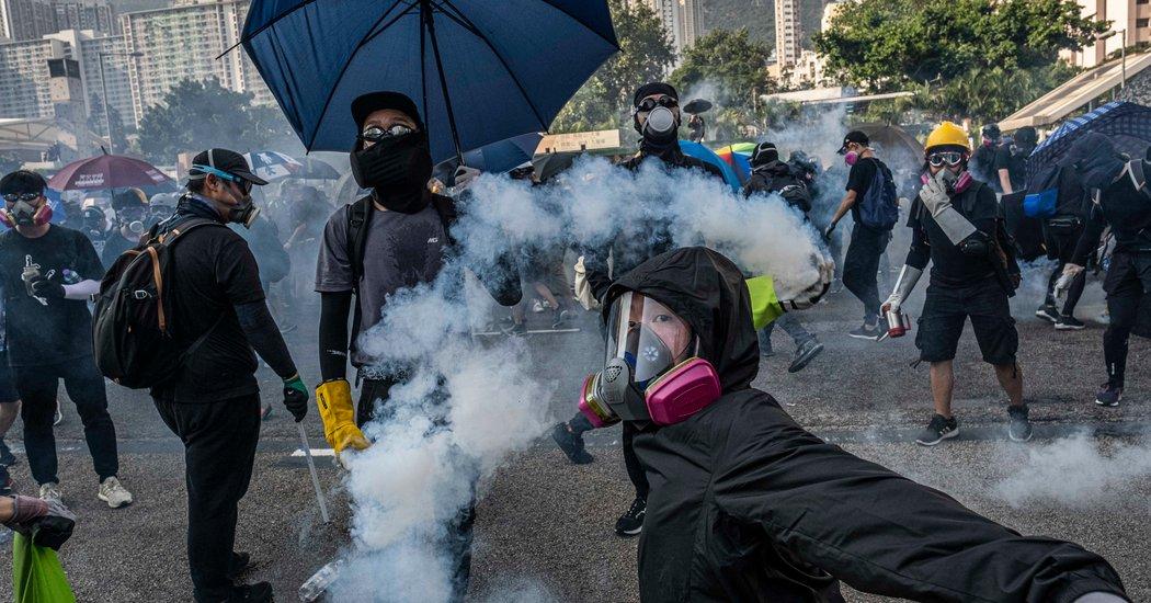 Pageantry in Beijing. Firebombs in Hong Kong.