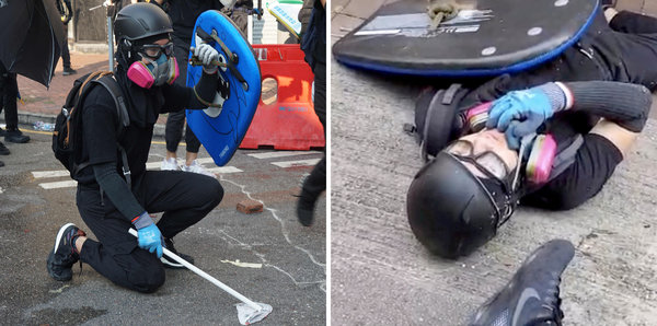 Left, a protester in Hong Kong on Tuesday seen minutes before he was shot by a police officer. Right, the same protester just after being shot.