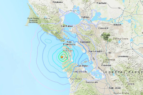 An earthquake with a preliminary magnitude of 3.5 struck on Saturday morning about four miles southwest of Colma, Calif.