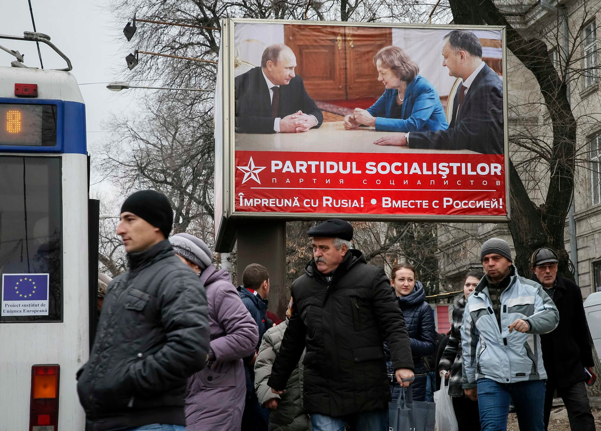 An election sign in Chisinau, Moldova, in 2014 showed representatives of the anti-European Socialist Party with President Vladimir V. Putin of Russia.