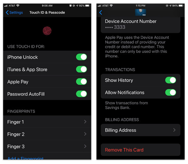 Most payment apps require that you secure your phone's contents with a lock screen. Within the payment app's settings, you can also choose to display your payment history or allow notifications.