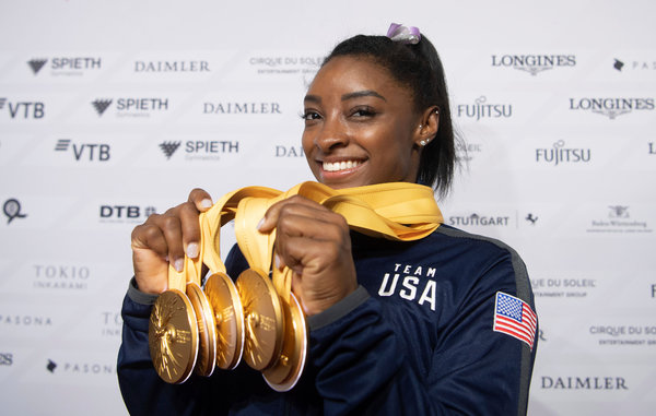 Simone Biles won five gold medals at this week's world championships.