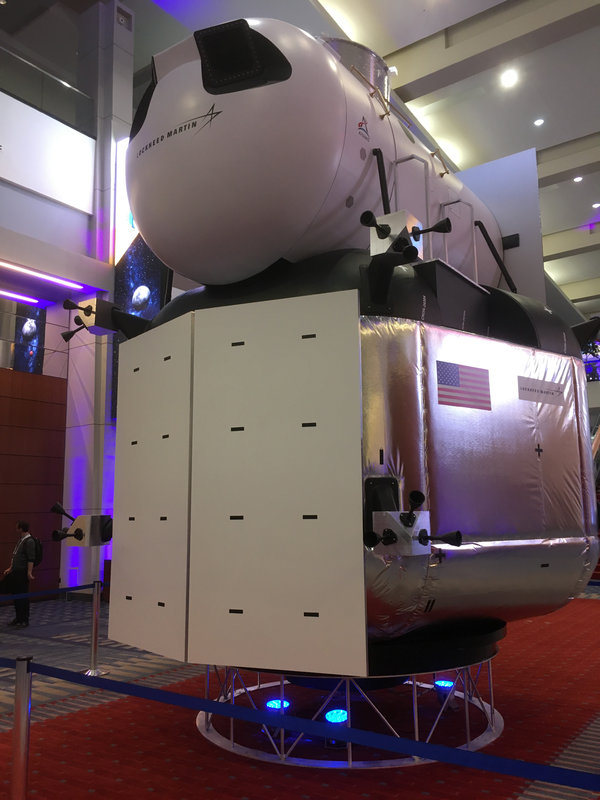 A full-size mockup of the lunar ascent stage developed by Lockheed Martin, on display at the International Astronautical Congress meeting in Washington this week. In the Blue Origin proposal, the Lockheed Martin ascent stage would sit on top of a Blue Moon lander.