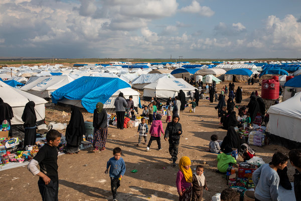 Women and children who had fled areas controlled by the Islamic State in southern Syria are shown at the Al Hol detention camp in Kurdish-controlled northern Syria in March.