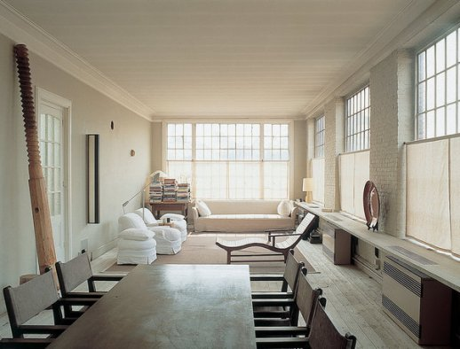 The living room at Vincent Van Duysen's home in Antwerp, photographed in 2001.