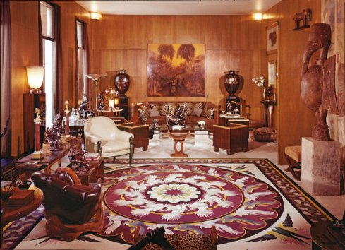 The salon at Yves Saint Laurent's apartment in Paris before it was fully redecorated, photographed in 1976.
