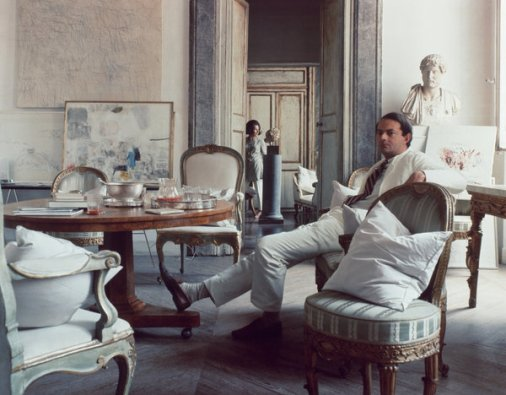 Cy Twombly and his wife, Tatiana, in their Rome apartment, photographed in 1966.