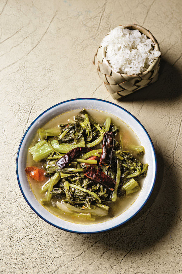 """Jaw Phak Katt, a mustard-green soup, from """"The Food of Northern Thailand."""""""