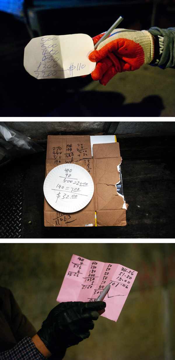 Canners who converge under the Manhattan Bridge in Manhattan at 3 a.m. bring invoices scrawled on scraps of cardboard and paper plates. A bag of 200 cans is worth $10.