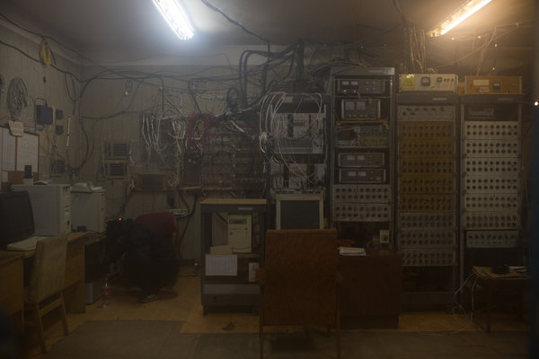 Retired electronics from a cosmic-ray experiment that ended two decades ago.