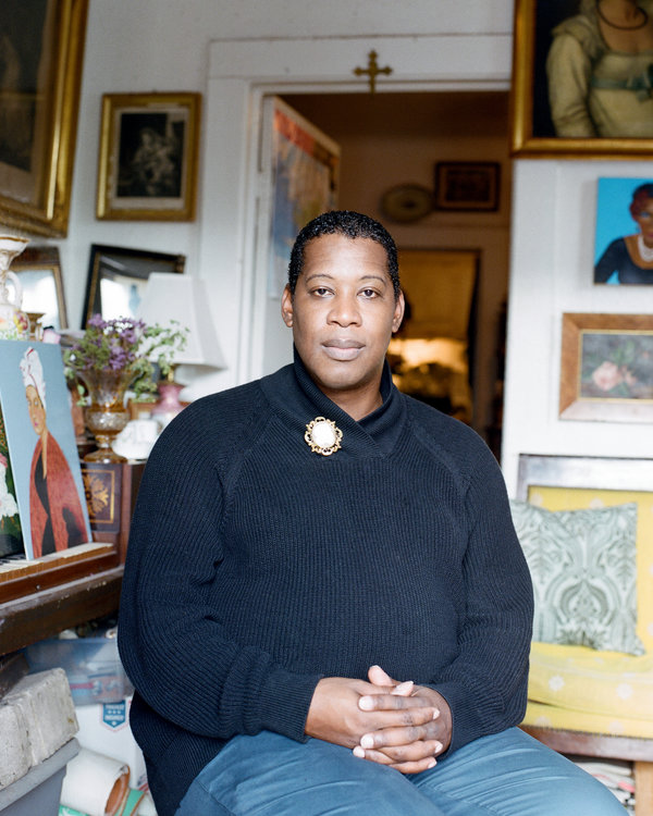 The painter Andrew LaMar Hopkins at his home in New Orleans.