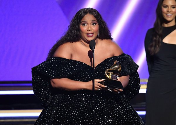 """Lizzo accepting the award for best pop solo performance for """"Truth Hurts."""""""