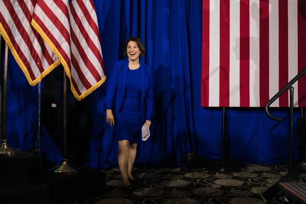 Senator Amy Klobuchar of Minnesota at her primary night party in Concord, N.H., on Tuesday.