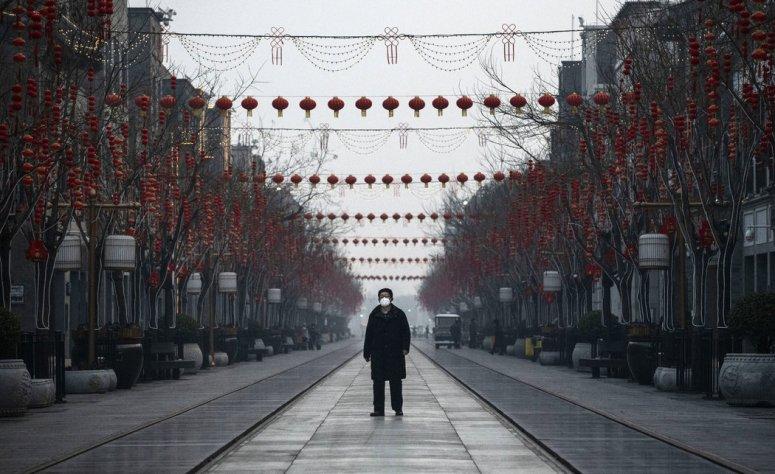 中国北京的一条商业街。