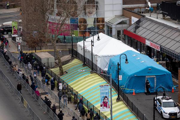 A line for coronavirus testing outside of Elmhurst Hospital Center in Queens on Wednesday.