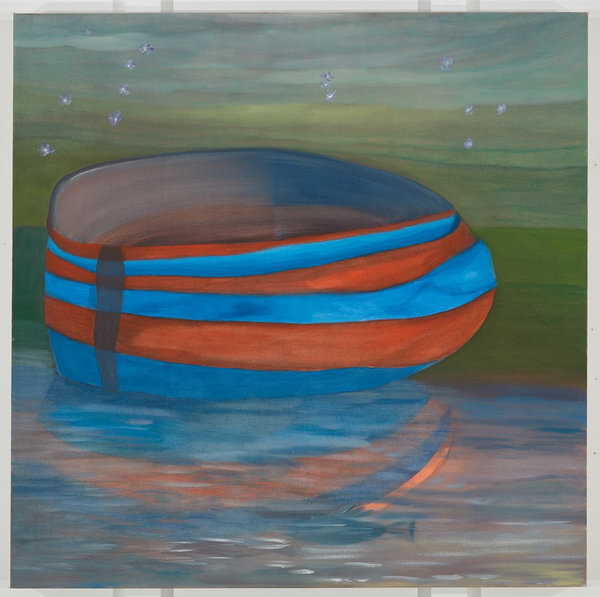 """Ficre Ghebreyesus, """"Solitary Boat in Red and Blue,"""" circa 2002-07, one of 700 paintings the artist — who was better known as a chef — left when he died. It is in a show of his work online at Galerie Lelong."""