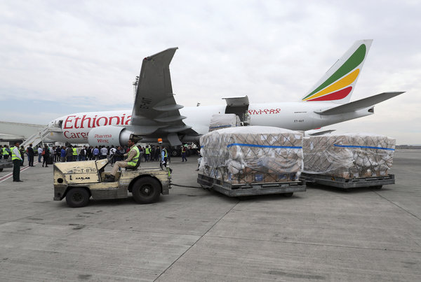 Coronavirus testing supplies being unloaded at the Bole International Airport in Addis Ababa, Ethiopia, in March.