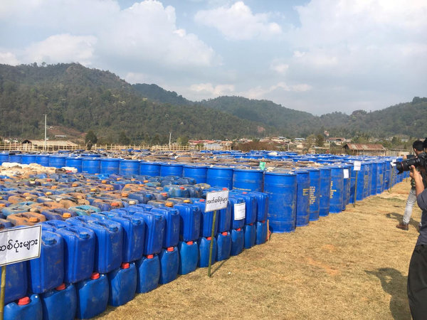 An undated photo released by the Myanmar police shows precursor chemicals used to make illicit drugs that were seized in Shan State between February and April.