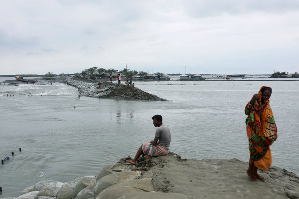 An embankment in Satkhira, Bangladesh, that was partially swept away by Cyclone Amphan this week.