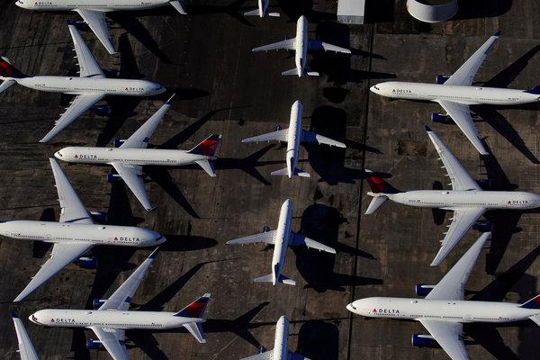 Delta Air Lines planes in Birmingham, Ala., in March.
