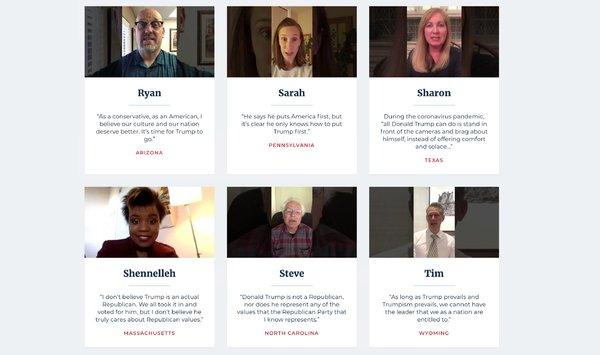 The group Republican Voters Against Trump has created a cache of 100 testimonial videos from voters explaining their decision to break with the party.