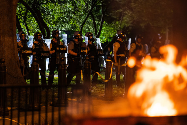Secret Service officers in Lafayette Park on Saturday night.