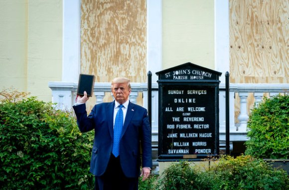 After having police and National Guard units disperse protestors with flash-bang and tear gas munitions, President Trump posed for media with a bible in front of St. John's Church.