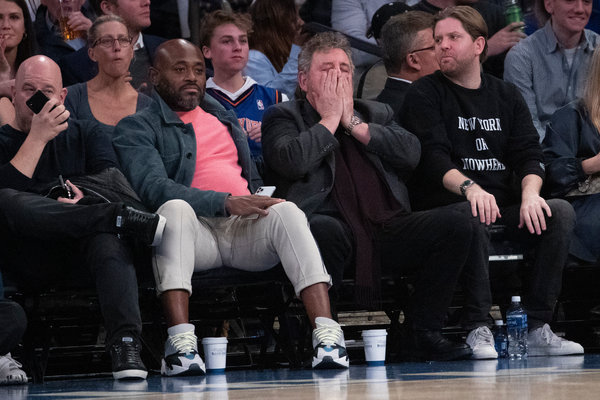 The Knicks team owner James L. Dolan, second from right, dealt with plenty of issues on and off the court this season.