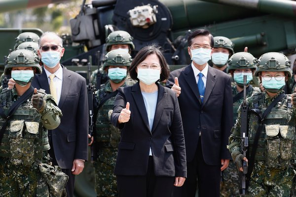 President Tsai Ing-wen of Taiwan at a military base this spring amid the coronavirus pandemic.