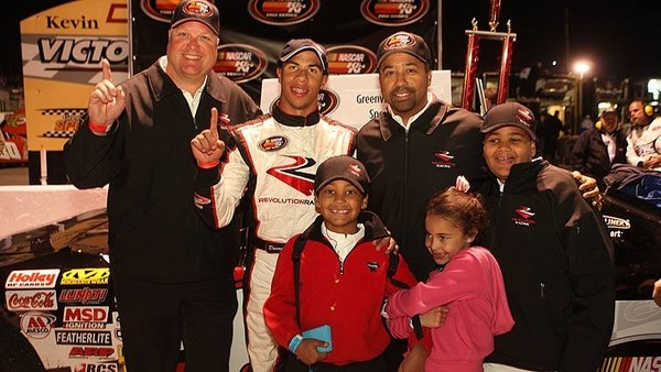 Wallace, center, after winning at Greenville-Pickens Speedway in South Carolina, becoming the youngest driver ever to win at the track.