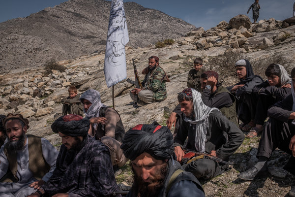 Taliban members in March in the Alingar district of Laghman Province, Afghanistan.