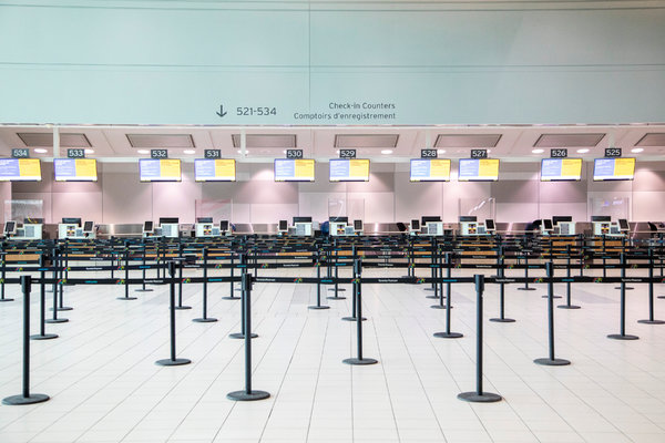 A check-in counter at Toronto Pearson International Airport last month.